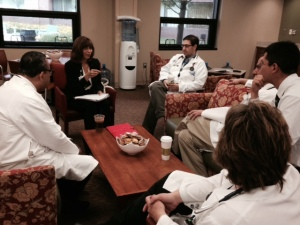 Lynn Torossian meets with Henry Ford West Bloomfield Hospital clinicians in the Physician Village